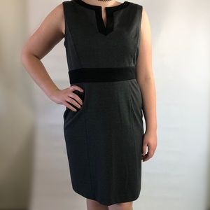 Tahari gray black split v-neck sheath dress